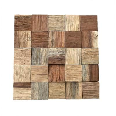 11-7/8 in. x 11-7/8 in. x 1/2 in. Heritage Boat Wood Mosaic Wall Tile Natural (11-Pack)