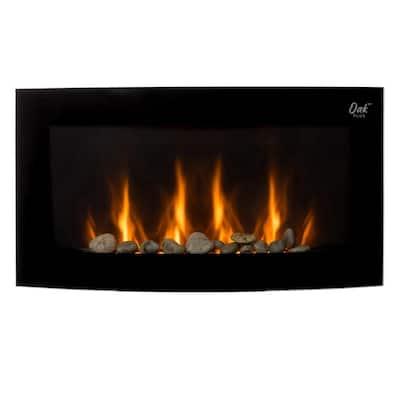 35.00 in. L x 28.5 in. W Modern Wall Mounted Electric Fireplace in Black