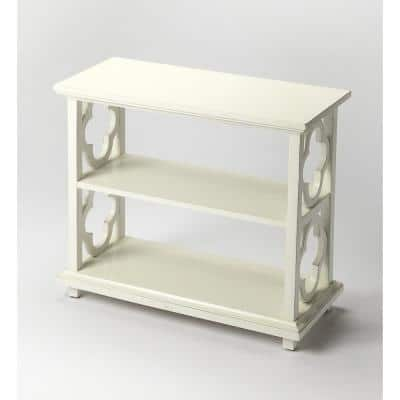 Masterpiece 27 in. Cottage White Wood 2-shelf Standard Bookcase with Open Back