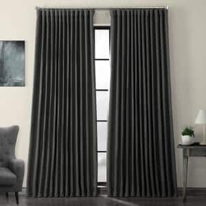 Dark Gravel Green Faux Linen Extra Wide Blackout Room Darkening Curtain - 100 in. W X 84 in. L (1 Panel)