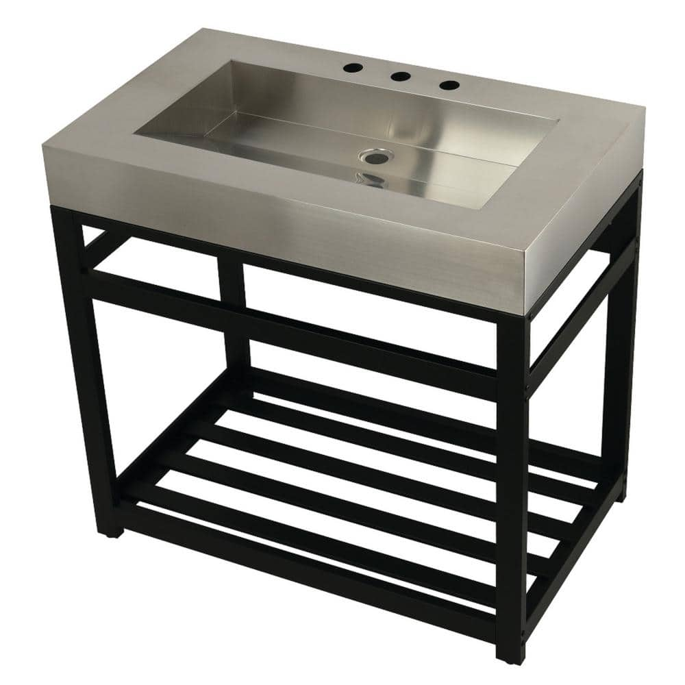 Kingston Brass 37 In W Bath Vanity In Matte Black With Stainless Steel Vanity Top In Silver With Silver Basin Hkvsp3722a0 The Home Depot