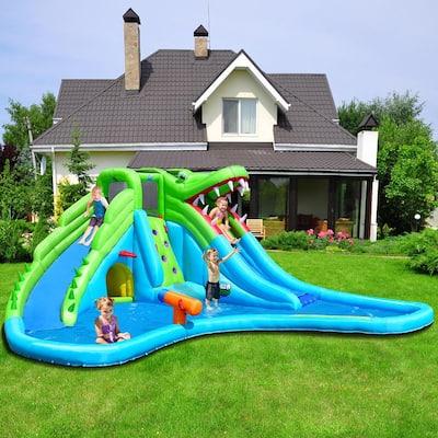 Multi-Color Inflatable Kid Crocodile Bounce House Dual Slide Climbing Wall Splash Pool with Bag