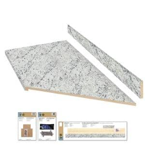 8 ft. Cream Laminate Countertop Kit With Right Miter and Eased Edge in White Ice Granite Etchings
