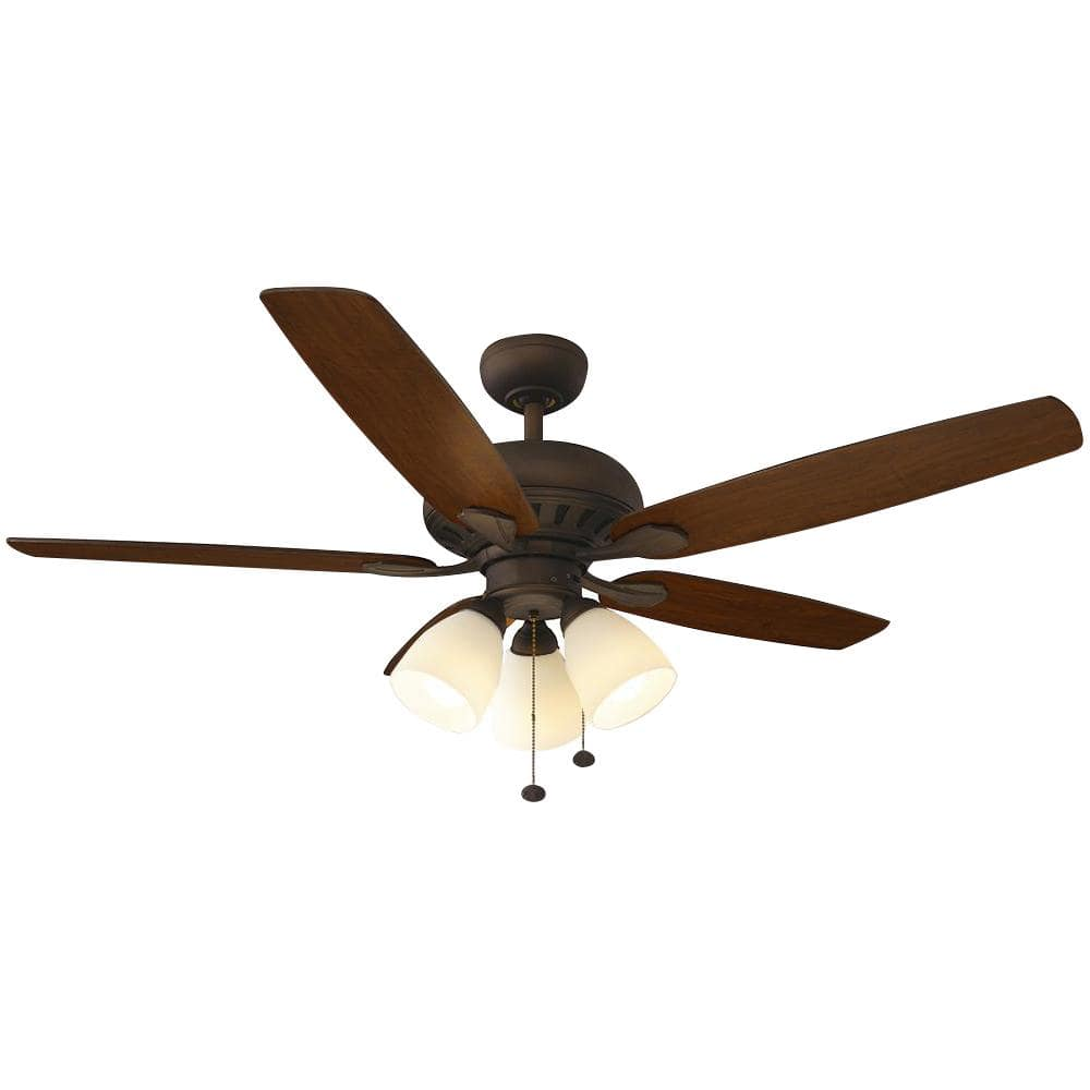 Hampton Bay Rockport 52 In Led Oil Rubbed Bronze Ceiling Fan With Light Kit 51751 The Home Depot