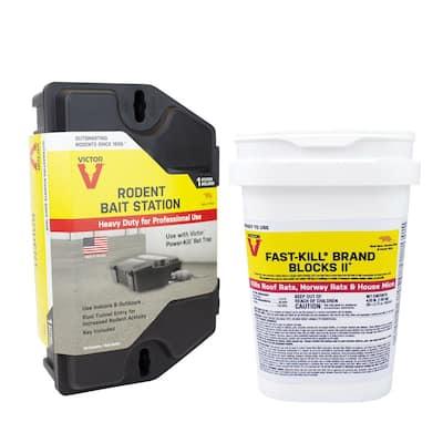 Rodent Bait Station with 4 lbs. Bucket Fast-Kill Brand Blocks