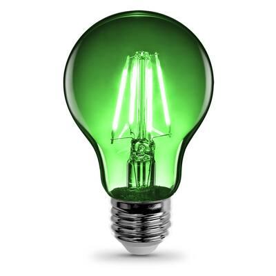 25-Watt Equivalent A19 Medium E26 Base Dimmable Filament LED Light Bulb Green Colored Clear Glass (1-Bulb)