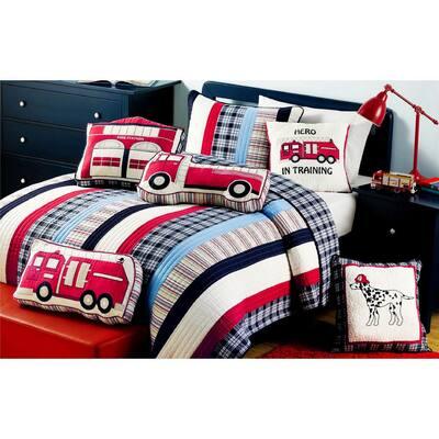 Red White Blue 2-Piece Patriotic Hero Firetruck Station Dalmatian Dog Plaid Stripped Cotton Twin Quilt Bedding Set