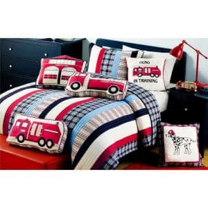 Red White Blue 8-Piece Patriotic Hero Firetruck Station Dalmatian DogPlaidStrippedCotton Queen Quilt Bed Set and Pillows