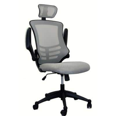 26.5 in. Width Big and Tall Silver Grey Fabric Ergonomic Chair with Adjustable Height