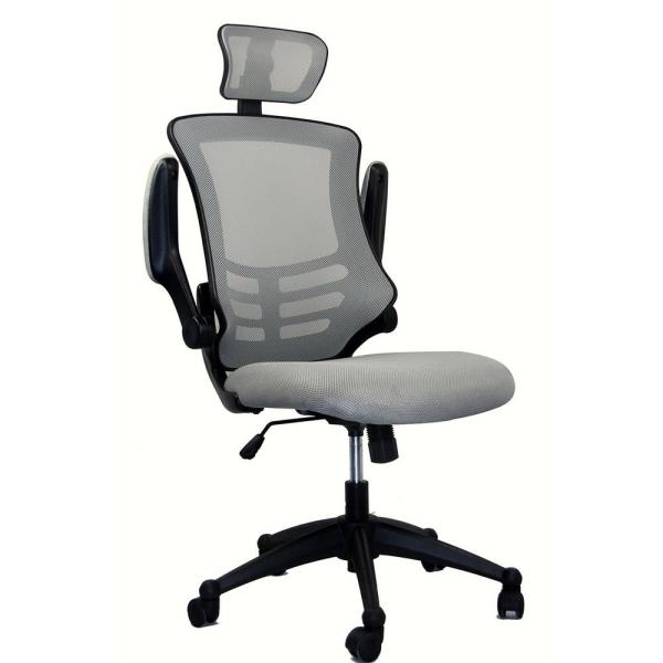 Adjustable Height Rta 80x5 Sg, Grey Fabric Desk Chair With Arms