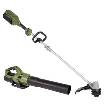 62V Cordless Battery Combo Kit 2-Tools,Axial Blower 600 CFM, 120 MPH, 16in String Trimmer, 4Ah Battery and Rapid Charger