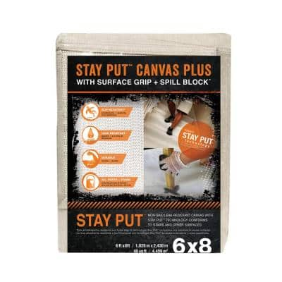 6 ft. x 8 ft. Stay Put Canvas Plus Drop Cloth