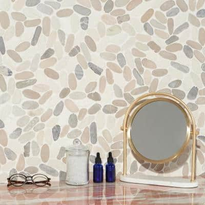 Countryside Sliced Flat Oval 11.81 in. x 11.81 in. Light Blend Floor and Wall Mosaic (0.97 sq. ft. / sheet)