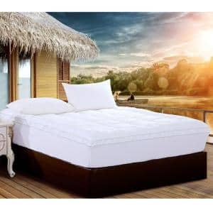 Christies Home Living Square Quilted Cal King Accent Piping Fitted Mattress Pad Covers Stretches up to 18 in. Deep