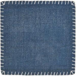 Dusty Denim Blue 15 in. x 15 in. Embroidered Edge Cotton Square Placemat (Set of 4)