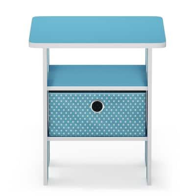 Multipurpose Light Blue Bin Drawer End Table