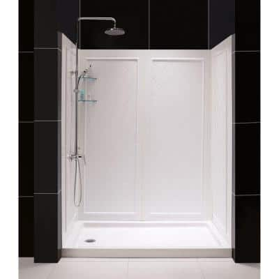 SlimLine 36 in. x 60 in. Single Threshold Shower Base in White Left Hand Drain Base with Back Walls