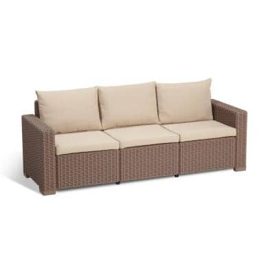 California Cappuccino Plastic Wicker Outdoor 3-Seat Sofa with Sand Cushions