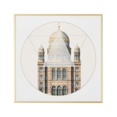 Geometric Architecture 'No. 2' Print Wall Art with Gold Frame, 24 in. L x 24 in. W
