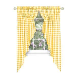 Buffalo Check 72 in. W x 63 in. L Polyester/Cotton Light Filtering Window Panel in Yellow