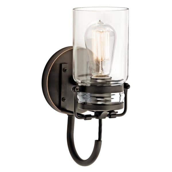 Kichler Brinley 1 Light Olde Bronze Wall Sconce With Clear Glass Shade 45576oz The Home Depot
