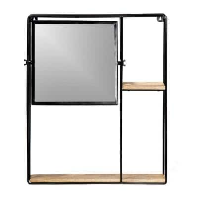 24 in. x 19.5 in. Industrial Square Framed Black Jeeves Shelving and Organizational Accent Mirror