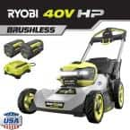21 in. HP 40V Lithium-Ion Battery Brushless Walk Behind Dual-Blade Self-Propelled Mower - (2) 6 Ah Batteries and Charger