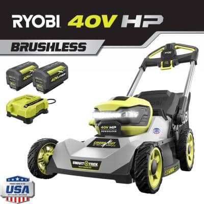 21 in. 40-Volt HP Lithium-Ion Battery Brushless Walk Behind Dual-Blade Self-Propelled Mower-Two 6 Ah Batteries & Charger