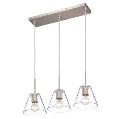 3-Light Satin Nickel Hanging Pendant Light with Clear Glass Shade