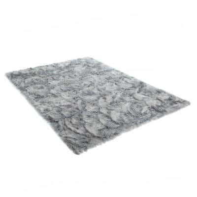 Gray 8 ft. x 10 ft. Faux Fur Luxuriously Soft and Eco Friendly Area Rug
