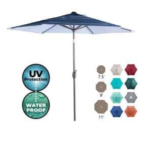 9 ft. Market Outdoor Patio Umbrella with Push Button Tilt and Crank in Blue Stripe
