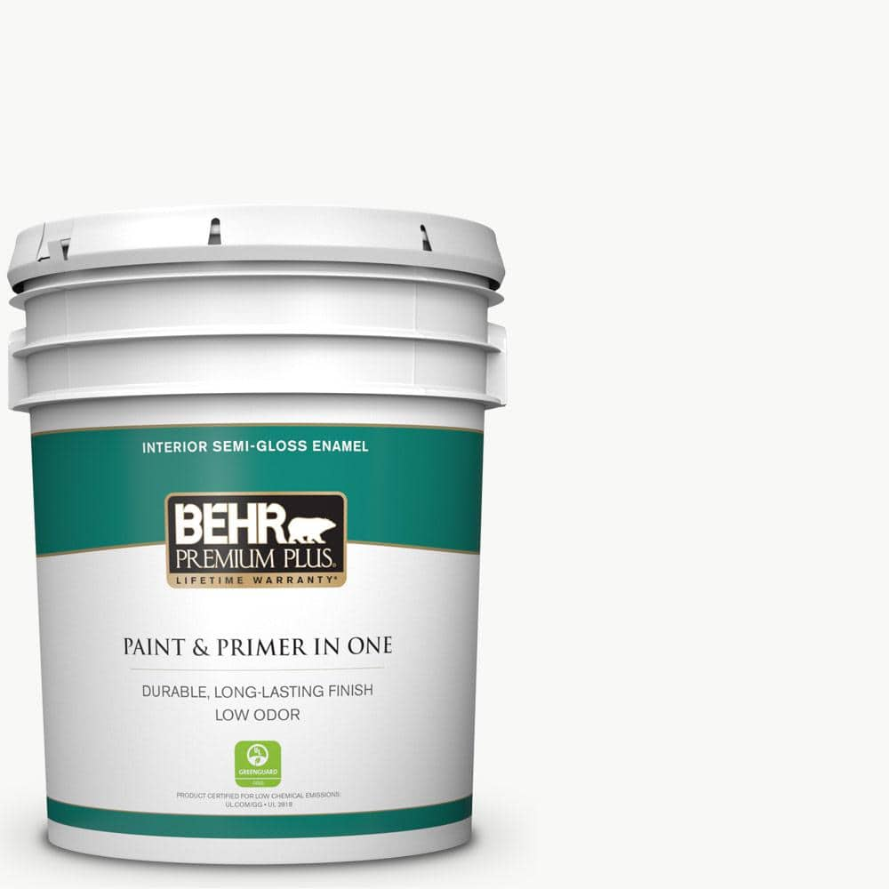 Behr Premium Plus 5 Gal Ultra Pure White Semi Gloss Enamel Low Odor Interior Paint And Primer In One 305005 The Home Depot