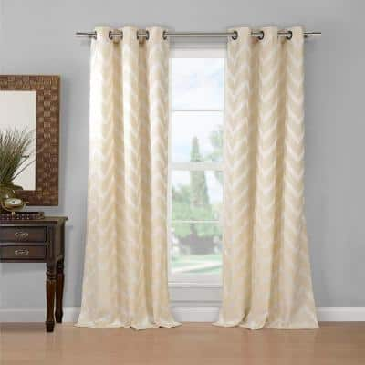 Taupe Chevron Grommet Room Darkening Curtain - 80 in. W x 84 in. L (Set of 2)