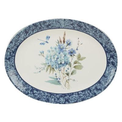 Bohemian 16 in. Blue Earthenware Oval Platter