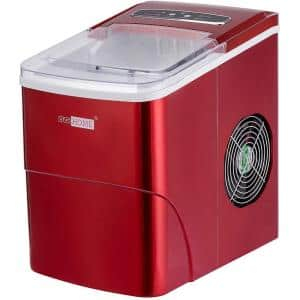 Electric 26 lbs./day Portable Ice Cube Maker in Red with Visible Window