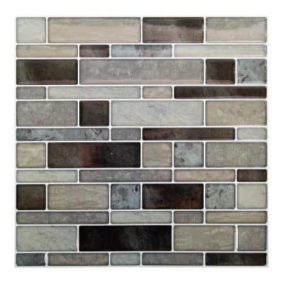 6-Pieces 10 in. x 10 in. Taupe Truu Design Self-Adhesive Peel and Stick Accent Wall Tiles