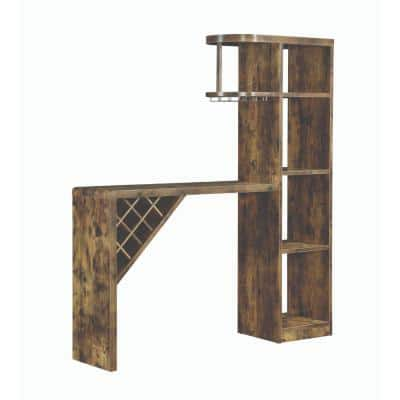 Brown Wooden Bar Unit with Open Compartments and Diagonal Wine Section 15.5 in. L x 64.75 in. W x 72.5 in. H