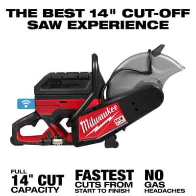 MX FUEL 14 in. Lithium-Ion Cordless Cut Off Saw Kit with 2 Chargers, 4 XC406 Batteries, and 1 14 in. Diamond Blade