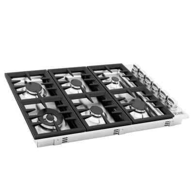 ZLINE 36 in. Dropin Gas Stovetop with 6 Gas Burners in Stainless Steel