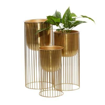 """Large Eclectic Gold Metal Planters with Stands, Set of 3: 16"""", 21"""", 24"""""""