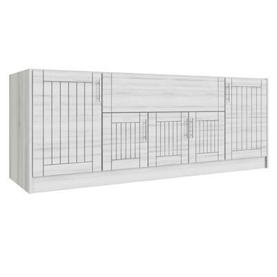 Daytona Whitewash 14-Piece 91.25 in. x 34.5 in. x 28.5 in. Outdoor Kitchen Cabinet Island Set