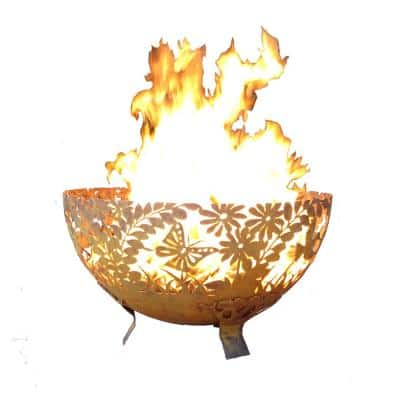 Garden 32 in. x 19 in. Round Steel Wood Burning Fire Pit in Rust