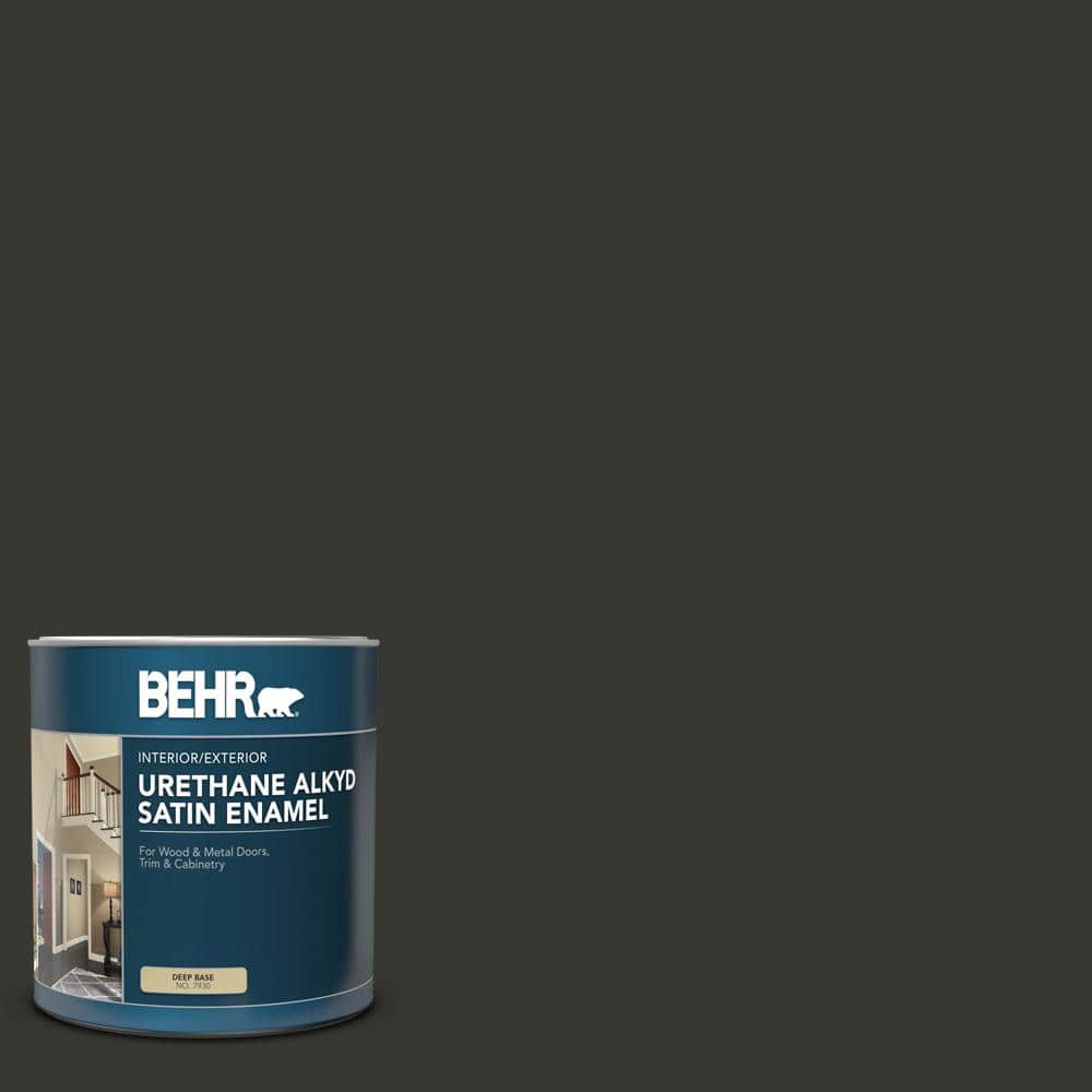 Behr 1 Qt N520 7 Carbon Satin Enamel Urethane Alkyd Interior Exterior Paint 793004 The Home Depot