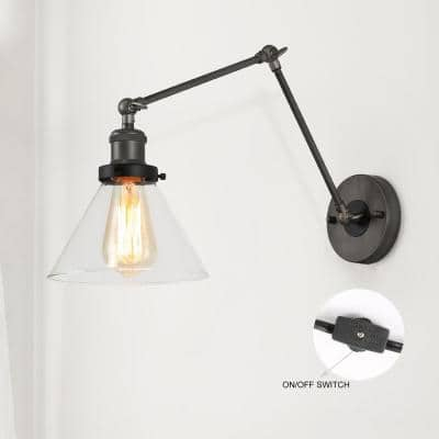 Mancos Wall Sconce Lighting, 1-Light Gray and Black Plug-In or Hardwire Adjustable Swing Arm Wall Light