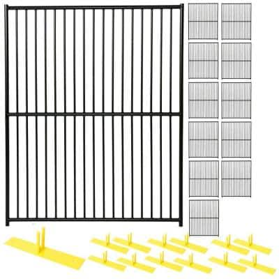 6 ft. x 60 ft. 12-Panel Black Powder-Coated European Style Welded Wire Temporary Fencing