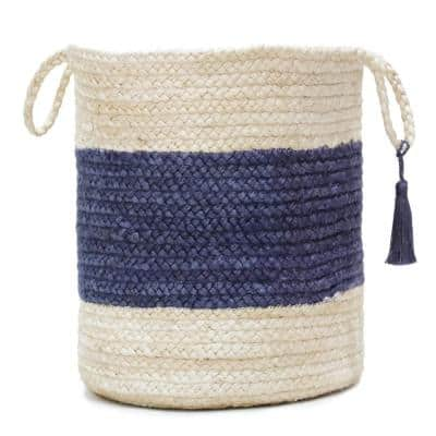 Bold Striped Off-White / Blue 19 in. Jute Decorative Storage Basket with Handles