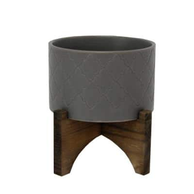 5 in. Matte Gray Argyle Ceramic Pot on Wood Stand