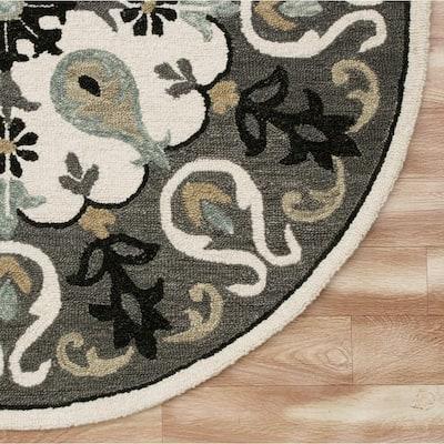 Vibrance Ornate Gray/White 5 ft. Round Medallion Wool Area Rug