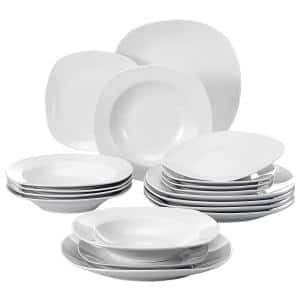 Elisa White Porcelain 18-Piece Casual Ivory WHite Porcelain Dinnerware Set (Service for 6)