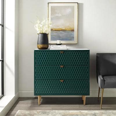 Green Honeycomb pattern 3-Drawers Storage Accent Chest with Golden Stands